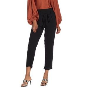Mustard Seed Black Satin Self-Tie Cropped Pants